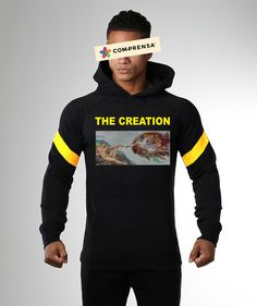 "Long sleeves hooded sweatshirt in black with the print ""The Creation"", elasticized band at waist and wrists.  #comprensa #model #fashion #manufacturer #design #company #textile #portugal #jersey #fleece #cotton #bio #sublimation #screenprinting #digitalprint #laser #photoprint"