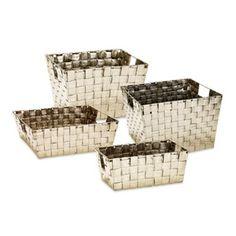 Woven Storage Tote in Metallic Champagne - BedBathandBeyond.com