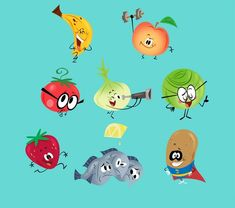 Eat Fruits and Vegetables! 2d Character, Character Design Animation, Character Concept, Concept Art, Illustration Mignonne, Cute Illustration, Character Illustration, Monster Characters, Cute Characters