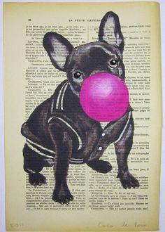♡ French Bulldog with bubblegum 3 by Coco de Paris