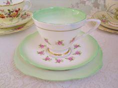 Art Deco Tea Trio, Pink Rose with Green Edge