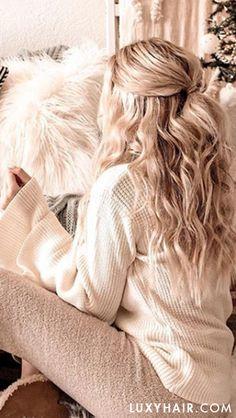 half up blonde waves