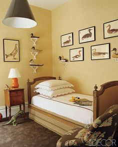 antique traditional.  grasscloth, bird prints, and antique bed | courtney daniels haden.