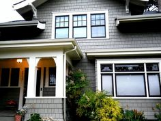 Black Windows Exterior Trim On Brown To Match Roof Of Project Tagged at simplechurch. Craftsman Exterior, House Paint Exterior, Exterior Siding, Exterior House Colors, Exterior Design, Craftsman Style, Grey Siding, Craftsman Homes, Siding Colors