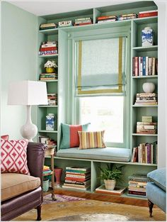 Beautiful book shelves and window seat. - Beautiful book shelves and window seat… You are in the right place about home decor minimalist He - Small Space Interior Design, Home Design, Small Space Furniture, Office Furniture, Furniture Ideas, Furniture Design, Modern Furniture, Furniture Nyc, Furniture Movers