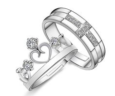 925 Sterling Silver Ring Jewelry Engagement Love Crown Cross Zircon Wedding Lovers Couple Rings for Women Men