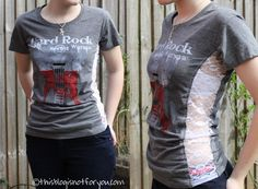 tshirt refashion with lace insert by thisblogisnotforyou.com - does not resize smaller shirt. Must add insert to sleeve to do so.