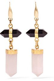 Santa gold-tone, agate and quartz earrings