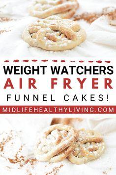 Funnel Cake Recipe Easy, Homemade Funnel Cake, Funnel Cake Fries, Funnel Cakes, Weight Watchers Cake, Weight Watchers Desserts, Griddle Recipes, Air Fryer Oven Recipes, Ww Recipes