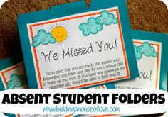 Absent Student Folders. This would be a real time saver if a responsible student was given this folder to fill for an absent student. Then he/she could give it back to the teacher at the end of the day. Done!