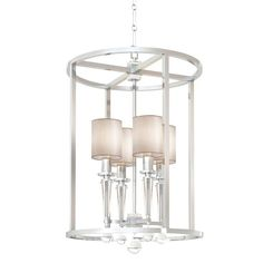 "TOTAL NUMBER LIGHTS: 4 TOTAL WATTAGE: 160 BULB TYPE: Candelabra MATERIAL: Steel + Crystal FINISH: Polished Nickel CHAIN LENGTH: 72""/120"""