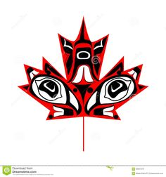 Illustration about Canadian maple leaf in native art on white background. Illustration of state, vector, emblem - 66907219 Haida Kunst, Inuit Kunst, Haida Art, Inuit Art, Native Canadian, Canadian Art, Canadian Flag Tattoo, Canadian Maple Leaf, Haida Tattoo