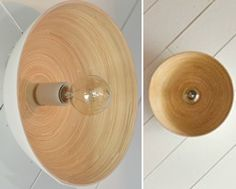 Luminária feita com tigela de madeira