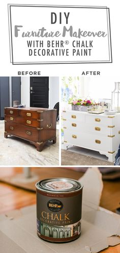 The before and after pictures of this DIY campaign chest makeover from Monica, of Monica Wants It, show the difference that a new coat of paint can make. She used BEHRⓇ Chalk Decorative Paint in White and BEHRⓇ Wax Decorative Finish in Clear to add a bright, neutral style to this piece. Click below for her easy tutorial.