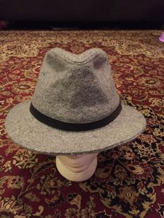 496ba624566 Details about Vintage Woolrich Men s Wool Fedora Hat Union Made USA Grey  Size S NWT