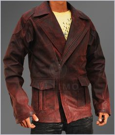 I Robot Mens Red Distressed Leather Jacket  Jacket Features:   High quality leather Pointed shirt collar and Full YKK front zip closure Premium stitching through out Red Distressed color Viscose lining Straight button pockets Zipped cuffs Patched detail at the chest and at the el