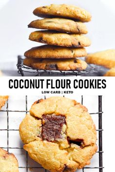 Coconut Flour Cookies Coconut flour cookies are the reincarnate of sweet crunchy goodness in a guilt-free cookie that will color you happy with every bite! Coconut Flour Cookies, Baking With Coconut Flour, No Flour Cookies, Keto Cookies, Keto Friendly Desserts, Low Carb Desserts, Low Carb Recipes, Atkins Recipes, Diabetic Desserts