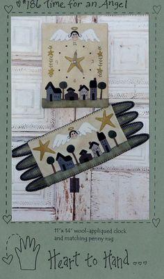 Angel Wool Applique Clock & Penny Rug Pattern by HandyHousewife