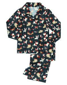 Holiday puppies printed all over soft flannel adds cozy fun to our two-piece pajama set.