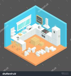 Kitchen Interior Vector Illustration. Isometric Room. The Kitchen Furniture And…