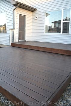 Staining your deck. {A Pretty Life} Behr Premium Semi-Transparent Weather Proofing Wood Stain in Cordovan Brown