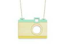 Hand painted, laser cut, plywood pendant - Camera by ALIZI DESIGN