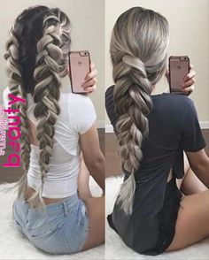two pancaked braids – - Frisuren Box Braids Hairstyles, Pretty Hairstyles, Elegant Hairstyles, Office Hairstyles, Teenage Hairstyles, Anime Hairstyles, Hairstyles Videos, Hairstyle Short, School Hairstyles