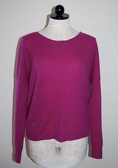 360CASHMERE-100-Cashmere-Magenta-Dolman-Sleeve-Scoop-Neck-Sweater-L