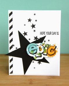 Kara Vrabel for Wplus9 featuring Epic Dad Stamp Set & Dies and Ink Splats