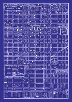 Blueprint framed prints blueprint framed art and blueprint 1949 vintage map of downtown philadelphia blueprint map print poster malvernweather Choice Image