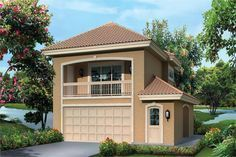 Front elevation of Garage w/Apartments home (ThePlanCollection: House Plan #138-1275)
