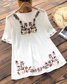 Chic Girl Must-take! Short Shipping Time! Easy Return + Refund! This Relaxing Day Petunia Embroidery Top gonna hit your flattery looks! Have it with more surprises!!