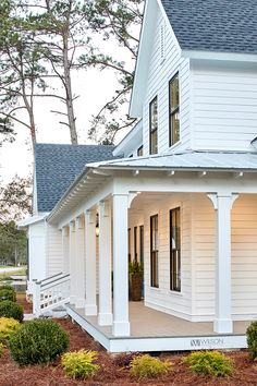 wrap around porch, white exterior wiht dark window frames, White Siding White home White Farmhouse White exterior Siding is James Hardie, Plank & Trim, Smooth Paint color is Sherwin Williams SW 7004 Snowbound in satin Farmhouse Style, Farmhouse Decor, Farmhouse Shutters, Rustic Shutters, Repurposed Shutters, Diy Shutters, Farmhouse Ideas, Fresh Farmhouse, Farmhouse Design
