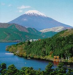 Outside Hakone Village, Japan by Lake Ashi in sight of Mt. Fuji