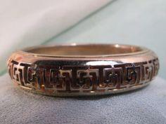 1960's Egyptian/Greek key design gold oval by ScreenGems333, $22.00
