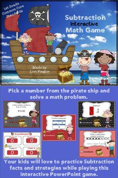 Great game to review Subtraction Concepts to first graders.