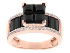 Stratify(Tm) 2.53ctw Black Spinel With .26ctw White Zircon 18k Rose Gold Over Sterling Silver Ring