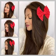 "Lace bow in Red Gorgeous hair bow! Wear it at the side or in the back of the head in a pony tail. Made from lace, it's attached to an alligator clip of about 2"" in, the alligator clip is removable so you can use your bow with other clips or use it in a different way. Size : 5"" by 3"" Approximately 