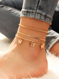 Stylish Jewelry, Simple Jewelry, Cute Jewelry, Jewelry Accessories, Fashion Jewelry, Jewelry Design, Ankle Jewelry, Hand Jewelry, Ankle Bracelets