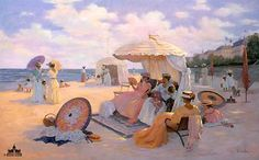 A DAY AT THE BEACH is a typical Christa Kieffer print influenced by the European Victorian era. The women are in beach attire appropriate for the year Modest Swimsuits, Beach Print, Impressionism Art, Beach Scenes, Limited Edition Prints, Victorian Era, Victorian Houses, Strand, Catholic