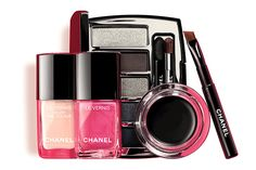 From L — R: Le Vernis Velvet 542 Pink Rubber and Le Vernis 544 Hyperrose Glass, $39, Architectonic palette, $102 and Calligraphie de Chanel in 65 Hyperblack, $48