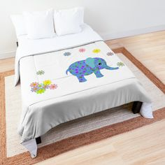 -  Comforter with vivid, full color print on front, white on back.   -  100% polyester fabric, 3/4 inch (2cm) polyester filling, and double square quilted pattern.   -  Available in multiple sizes from twin to king. Twin XL size fits most extra long college dorm room beds; check sizing guide for detailed measurements.   -  Note: pillows and shams not included.   -  Machine washable. . . #comforter  #bedcovering  #duvet  #bitsofeverywhere