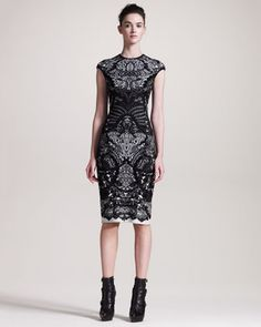 Printed Sheath Intarsia Dress by Alexander McQueen
