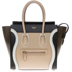 Celine Color Block Micro Luggage Tote (100.940 UYU) ❤ liked on Polyvore featuring bags, handbags, tote bags, beige, leather handbag tote, handbags totes, hand bags, celine tote and purse tote