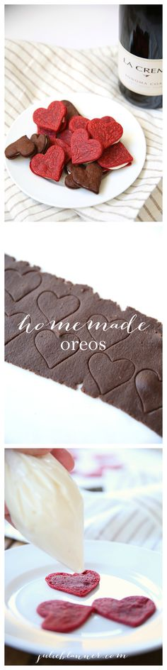 Make easy & amazing chocolate sandwich cookies {aka oreos} with this simple recipe for Valentine's Day!