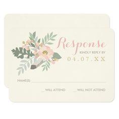 Spring RSVP Wedding Invitations Wedding Response Card | Spring Boho Florals