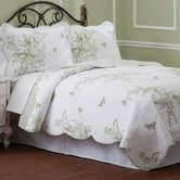 "Luxury Home""5-Piece Evans Meadow Green 5-Piece Cotton Quilt Set in Ivory"