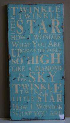 Twinkle Twinkle Little Star Typography Word by barnowlprimitives, $95.00