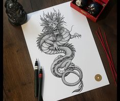 5 Artists Shared Their Process Of How To Draw A Dragon In Totally Different Styles! The Post Is Filled With Tips, Tricks, Step By Step Process and Dragon Books. drawing dragon How To Draw A Dragon Tips From 5 Artists Drawing Dragon, Dragon Sketch, Dragon Tattoo Realistic, Dragon Tattoo Forearm, Tribal Sleeve Tattoos, Star Tattoos, Wing Tattoos, Celtic Tattoos, Tattoo Sketches