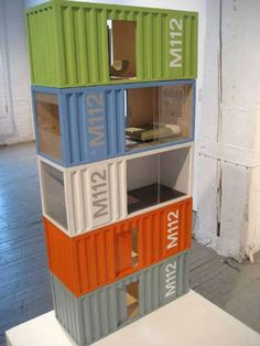 This tiny take on the container home trend. #Dollhouse